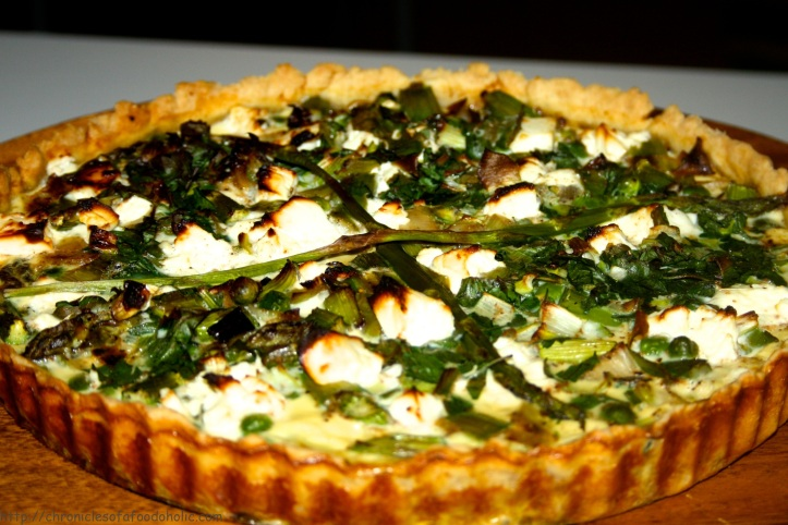 Asparagus & Feta Cheese Quiche with Caramelised Leeks