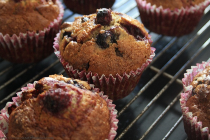 Healthy Mixed Berry Wholewheat Honey Muffins topped with Streusel